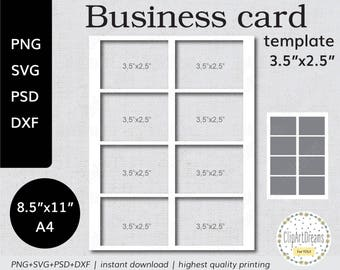 Business card template etsy 35x25 business card template mighty instant download png psd formats 85x11 in a4 sheet digital svg dxf cut file for cricut silhouette wajeb Gallery
