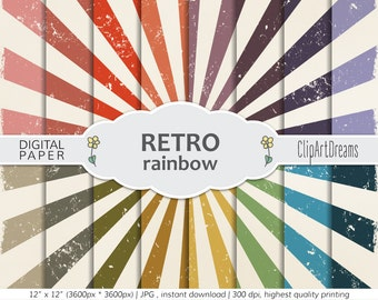 Retro Digital Paper,Rainbow retro digital paper,Retro Paper for Digital Scrapbooking,Retro high res Textures,retro background,commercial use