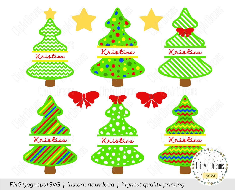 Christmas tree Monogram SVG Christmas tree Monogram Frame Svg | Etsy