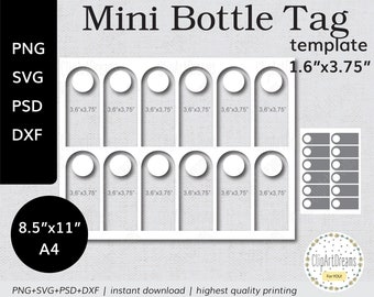 """1.6""""x3.75"""" Mini Liquor Bottle Tags template PNG PSD Cheers Mini Whiskey Wine Bottle Tags Svg Dxf cut file for Cricut Silhouette Cameo"""