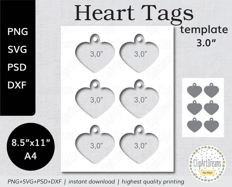 3,0 Valentine Tags template PNG PSD Formats Valentines Heart tag Instant Download 8.5x11 A4 Digital Svg Dxf cut file for Cricut Silhouette