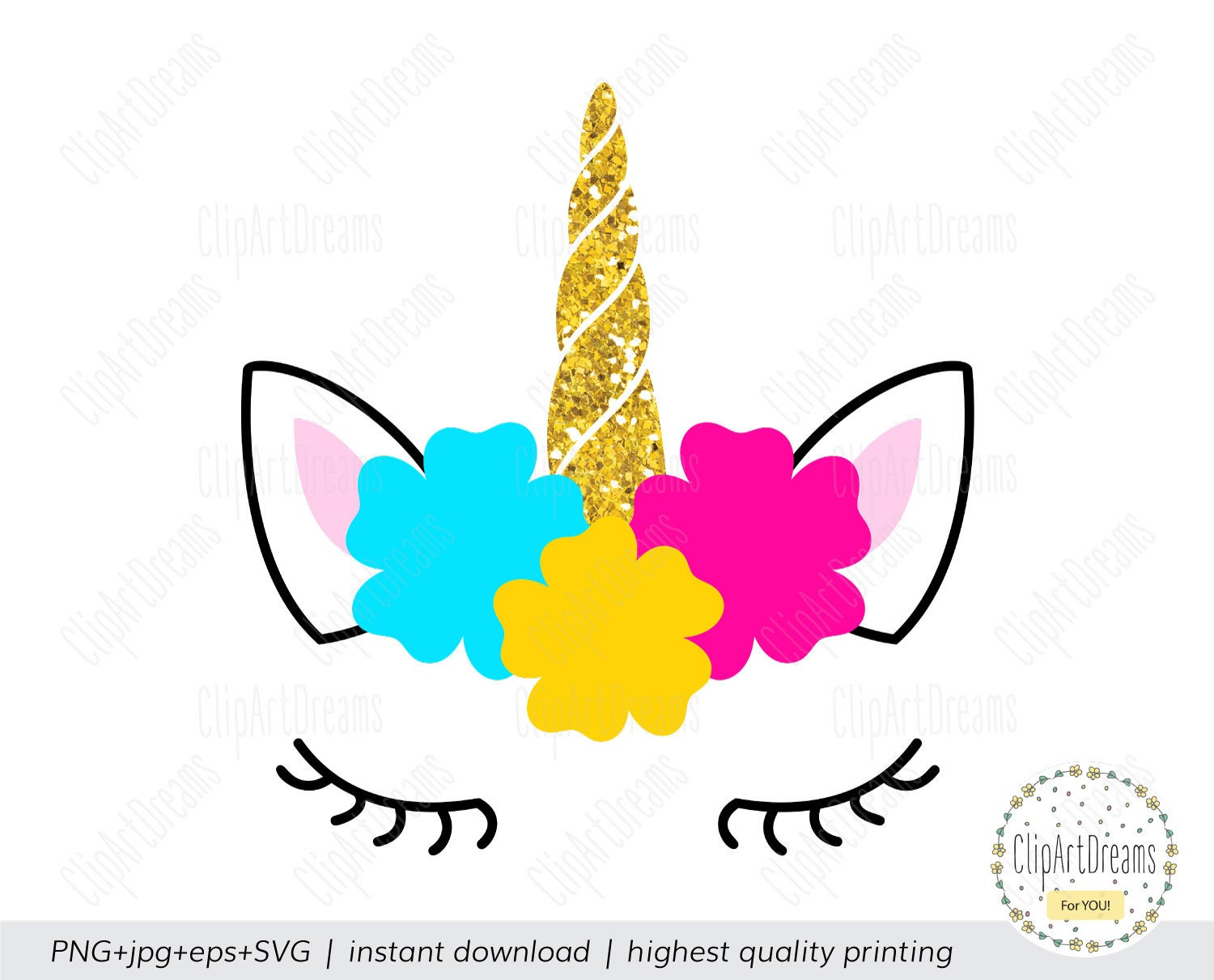 Unicorns Horn With Flowers Svg Unicorns Horn With Flower Etsy