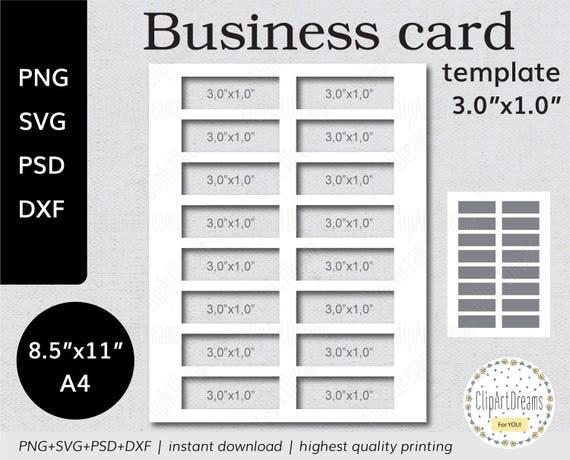 3 0 X 1 0 Visitenkarte Vorlage Mini Instant Download Png Psd Formate 8 5 X 11 Zoll A4 Blatt Digital Svg Dxf Datei Für Cricut Silhouette