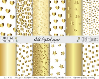 Gold Foil Digital paper pack - Foil Metallic Gold Hearts and Stars Textures, gold polka dot, Gold and White Wedding Background