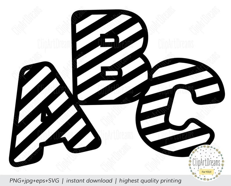 Striped Font Svg Striped Zebra Letters Alphabet Svg Files