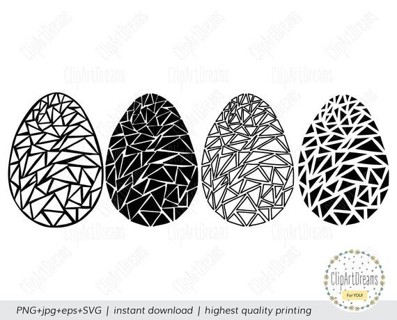 Easter Egg Clipart Svg Files Easter Eggs Clipart Black And Etsy
