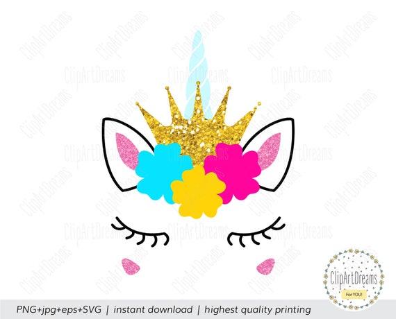 Unicorn Horn Svg Unicorn Princess Birthday Svg Eps Dxf Png Unicorn SVG Unicorn Eyelashes SVG Unicorn Face SVG