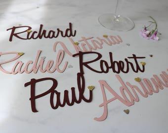 Wedding place names, wedding name cards, wedding place settings, wedding place cards, laser cut place card, place name,