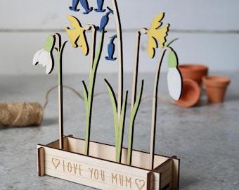 Personalised wooden Spring Flowers