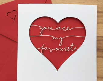 You are my Favourite, Personalised greetings card, personalised Valentines card, Personalised card, Anniversary card, Valentines Card, love