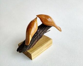 Wooden Birds, Sculpture, Love Birds, Wood Art, Woodcarving, Carved Sculpture, Handmade by Yurii Myketka