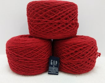 Recycled DK Weight 99% wool in Fire Engine Red 1,423 yards available
