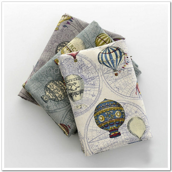 World Map and Hot Air Balloon Pattern Fabric