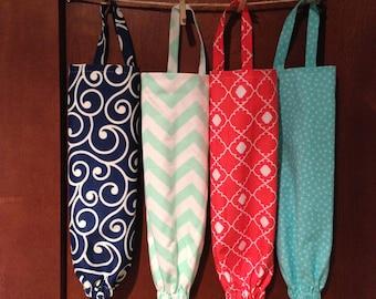 Fabric Plastic Bag Holder - Kitchen Organizer - Kitchen Grocery Bag Storage - Doggy Bag Dispenser- Housewarming Gift- Eco Friendly-Gift