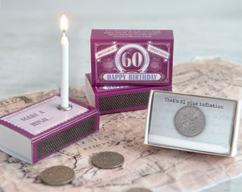 Happy 60th Birthday Greeting In A Matchbox Gift Card Lucky Sixpence For Her Him Sixtieth