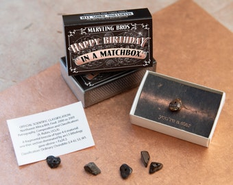 Happy Birthday Meteorite Gift In A Matchbox Card For Him Her Best Friend