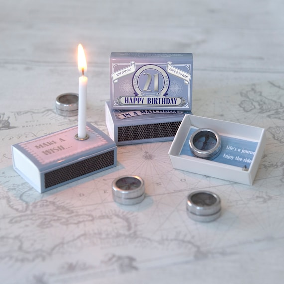 Happy 21st Birthday Gift Compass In A Matchbox