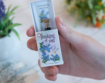 Thinking Of You Gift In A Matchbox With Forgetmenot Seeds And Candle, Sympathy Gifts, Sympathy Cards, Thinking Of You Card