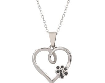 High Polished Stainless Steel Dog Pendant Necklace, Heart Shaped with Black CZ