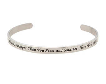 Stainless Steel You're Braver Than You Believe, Stronger Than You Believe, Smarter Than You Think Christopher Robin, Inspirational Bracelet