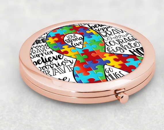 Autism Rose Gold Compact Mirror Gift