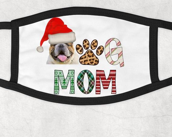Christmas Bulldog Dog Mom with Santa Hat Face Mask Cover