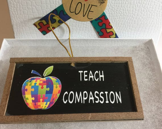 Teach Compassion Autism Apple Chalkboard Ornament Teacher Autism Ornament Special Education Ornament Special Education Teacher Gift