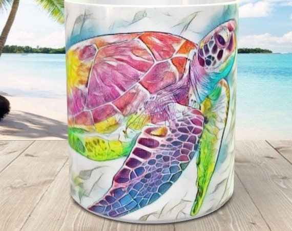Watercolor Turtle Nautical Sea Life Coffee Mug