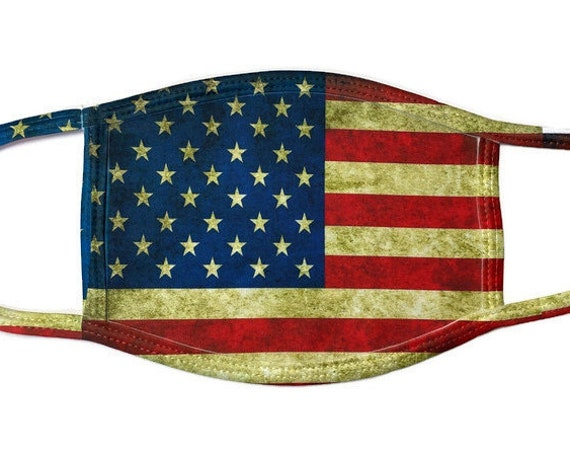 United States Flag Grunge Face Cover Mask with Filter Pocket