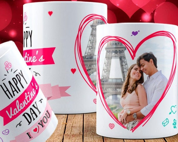 Paris Photo Couples Personalized Happy  Valentines Day Gift Mug Coffee Cup