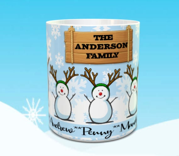 Christmas Family Snowman Personalized 11 or 15 oz Mug Christmas family coffee cup gift with names Snowman Christmas Custom Mug with names