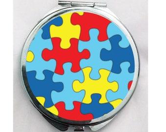 Puzzle Piece Autism Makeup Compact Mirror Autism Mom Gift Autism Teacher Gift Autism Puzzle Piece Stocking Stuffer Gift Autism Mirror