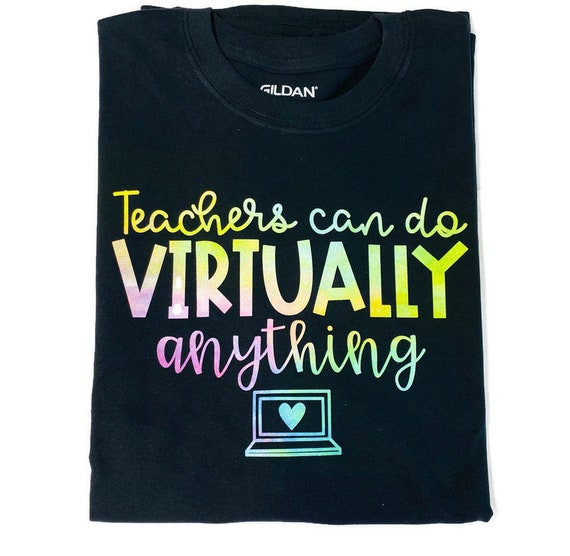 Teachers can do anything virtually rainbow glitter T-shirt