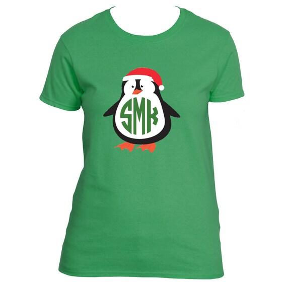 Ladies Monogrammed Penguin Christmas Holiday Shirt Christmas Penguin Shirt Monogrammed Penguin T-shirt Personalized Christmas Shirt