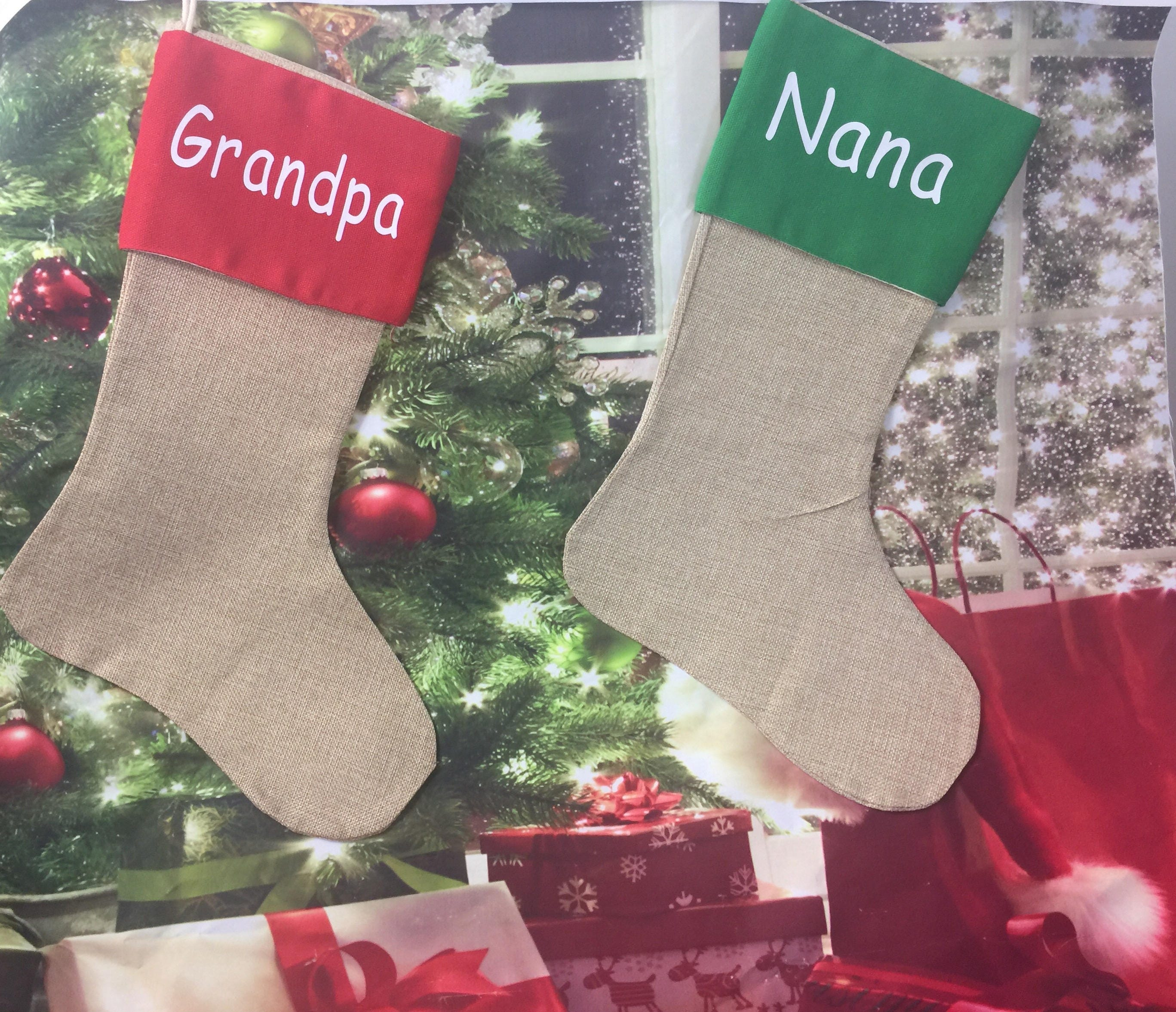 Personalized Christmas stockings Grandpa Nana Nanny Grandma Kids ...