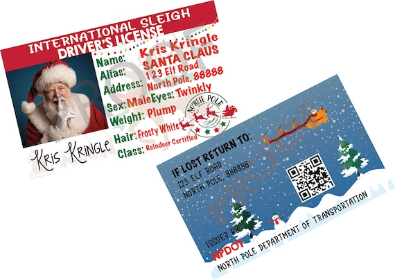 International Santa Claus Kris Kringle Driver License