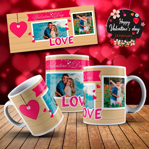 Photo Couples Personalized Happy  Valentines Day Gift Mug Coffee Cup
