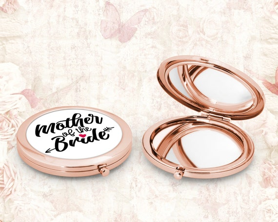 Bridal Party Compact Mirror Rose Gold Bridesmaid Flower Girl Mother of the Bride Gift