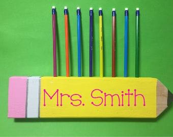 Teacher Desk Name Wood Pencil Holder Teacher Desk Pencil Holder Teacher Name Gift Teacher Appreciation Gift Teacher School Pencil Holder