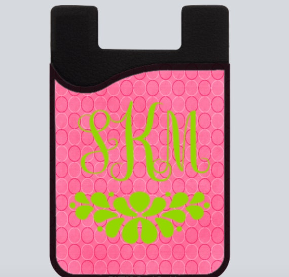Monogrammed Phone Card Holder Caddy Personalized Phone Credit Card Holder Pink and Green Phone Caddy Pink Dot Phone Holder with Monogram
