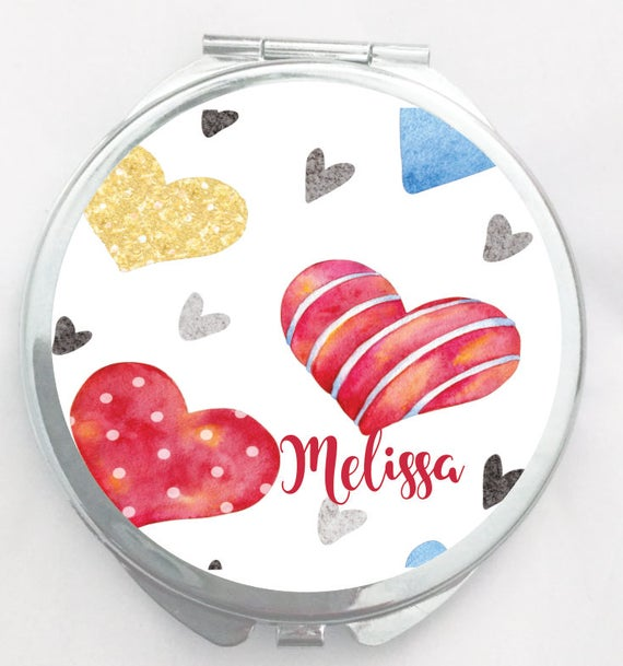 Valentine Compact Makeup Mirror Gift perfect for any Valentine!