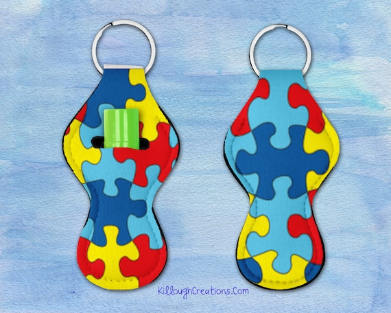 Autism Puzzle Piece Chap Stick Holder Keychain