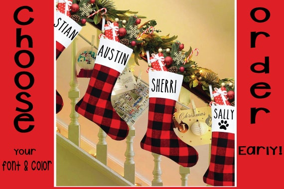 Buffalo Plaid Personalized Red and Black Christmas Stocking
