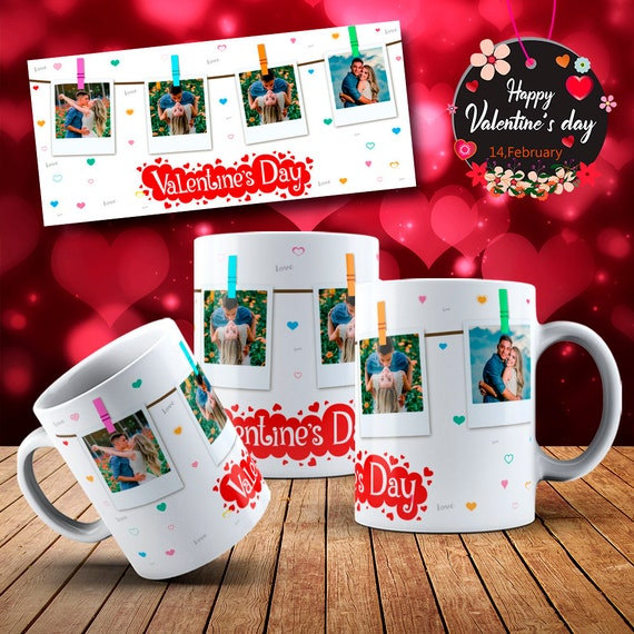 Instant Photo Couples Personalized Happy  Valentines Day Gift Mug Coffee Cup