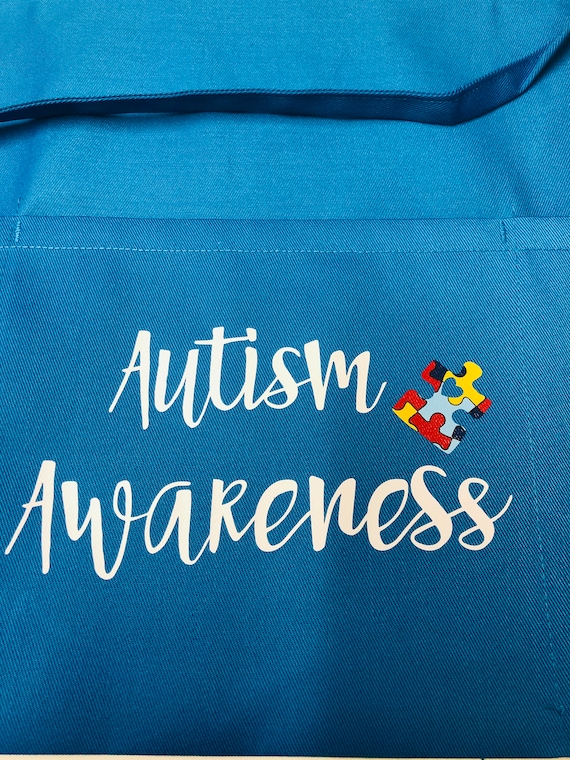 Blue Teal Autism Awareness Puzzle Piece Pocket Apron Great For Teachers, Daycare workers, Autism Walks.