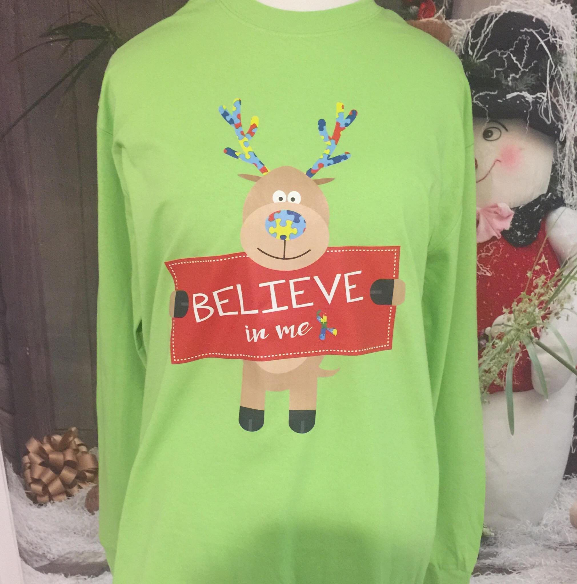 autism puzzle piece christmas shirt autism rudolph reindeer t shirt autism believe christmas long sleeve shirt autism lime green