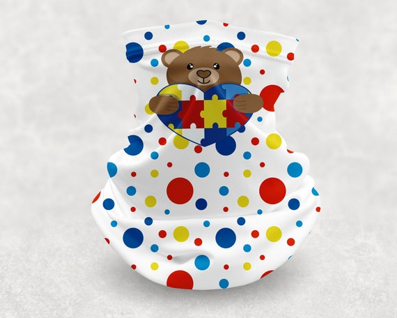 Autism Polka Dot Puzzle Piece Bear Neck Gaiter Face Mask Cover Great for Teens and Adults
