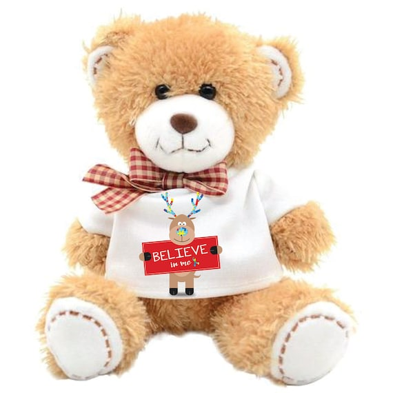 Believe in Me Autism 7 in Teddy Bear Rudolph Christmas Autism Teddy Bear Puzzle Piece Autism Teddy Bear Gift Autism stocking stuffer Bear