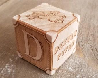 Custom Maple Engraved Baby Block | Personalized Wood Nursery Block | Custom Natural Wood Newborn Baby Block | Baby's First Wood Block Gift