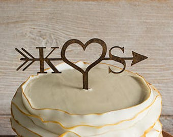 Arrow Wood Wedding Cake Topper | Wedding Cake Topper | Rustic Cake Topper